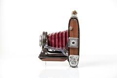 Vieil appareil-photo antique de photo d'isolement sur le blanc Images libres de droits
