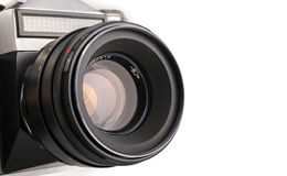 Vieil appareil-photo d'isolement sur un blanc Photographie stock