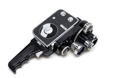 Vieil appareil-photo de film 16 millimètres avec trois lentilles Image libre de droits