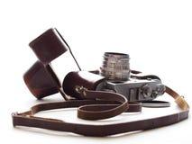 Vieil appareil-photo de film dans le cas en cuir Image libre de droits