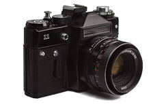 Vieil appareil-photo de photo d'oldschool d'isolement sur le fond blanc Image libre de droits