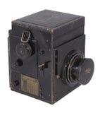 Vieil appareil-photo de studio, sur un fond blanc Photo libre de droits