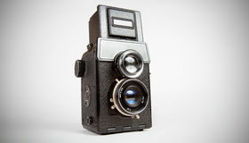 Vieil appareil-photo de tlr Photographie stock