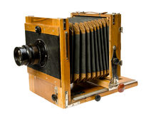 Vieil appareil-photo en bois Image stock