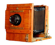 Vieil appareil-photo en bois de photo Photos libres de droits