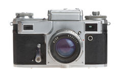 Vieil appareil-photo sur un fond blanc Photo stock