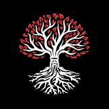 Vieil arbre blanc avec les feuilles rouges Arbre d'imagination illustration stock