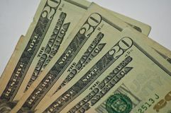 Vieil argent chiffonné de devise de papier billets de vingt dollars étroitement  photo stock