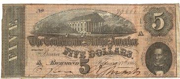 Vieil argent des Etats-Unis note des cinq dollars Image libre de droits