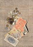 Vieil argent et pièces de monnaie photographie stock