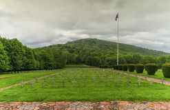 Vieil Armand eller Hartmannsweiler Kopf kyrkogård, Vosges berg, royaltyfri fotografi