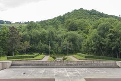 Military cemetery at Vieil Armand, Hartmannswillerkopf, in Vosges mountains in France. royalty free stock photo