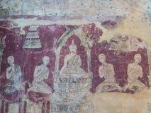 Vieil art thaïlandais traditionnel de la peinture dans le temple de Wat Bangkung Photo libre de droits