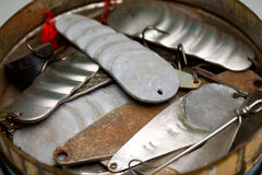 Vieil attrait de pêche Image libre de droits