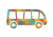 Vieil autobus coloré sur un fond blanc illustration stock
