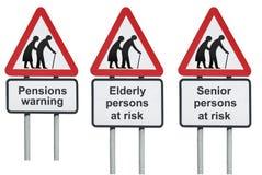Vieil avertissement de pensions d'aînés photos stock