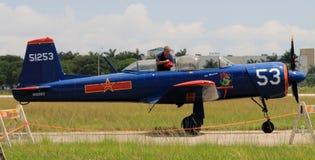 Vieil avion de combat chinois avec le pilote Photographie stock