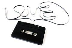 Vieil enregistreur à cassettes d'isolement l'amour de mot du film du Images libres de droits