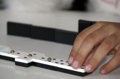 Vieil ensemble de domino Photographie stock
