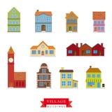 Vieil ensemble de vecteur de bâtiments de village Photo libre de droits