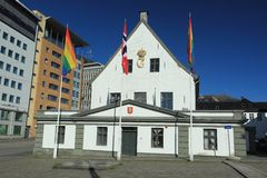 Vieil hôtel de ville à Bergen Photographie stock libre de droits