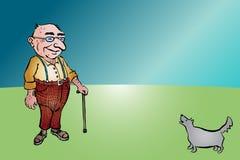 Vieil homme âgé avec le bâton et le chien Photo stock