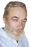 Vieil homme adulte avec des sourires gris de cheveux images stock
