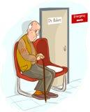 Vieil homme attendant dans la salle d'attente Photographie stock libre de droits