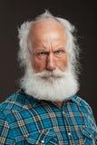 Vieil homme avec un grand sourire de long wiith de barbe Photo stock