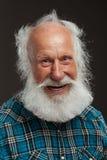Vieil homme avec un grand sourire de long wiith de barbe Photo libre de droits