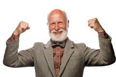 Vieil homme avec une grande barbe et un sourire photos stock