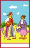 Vieil homme avec une oie et une dame âgée image stock