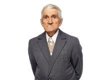 Vieil homme d'isolement sur le blanc Image stock