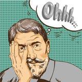 Vieil homme dans style comique d'art de bruit le rétro Oh bulle émotive de la parole de réaction Photos libres de droits