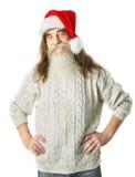 Vieil homme de Noël avec la barbe dans le chapeau rouge, Santa Claus Image libre de droits