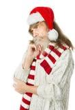 Vieil homme de Noël réfléchi avec la barbe dans le chapeau rouge, Santa Claus Images libres de droits