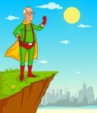 Vieil homme de rétro de style super héros de bandes dessinées Photos stock
