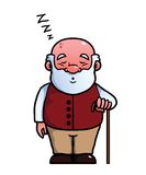 Vieil homme dormant et ronflant illustration de vecteur