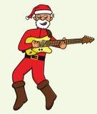 Vieil homme en bande dessinée de Santa Claus Costume Playing Electric Guitar Image stock