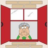 Vieil homme ennuyé par dessin animé à l'hublot Image stock