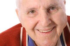 Vieil homme heureux d'isolement sur le blanc Photos libres de droits