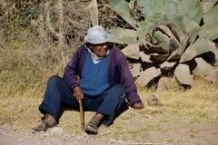 Vieil homme indigène du Pérou Images libres de droits