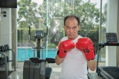 Vieil homme portant les gants de boxe rouges s'exerçant dans la forme physique Photographie stock