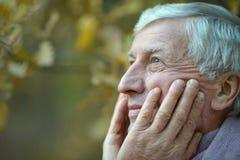 Vieil homme réfléchi à la nature Image stock