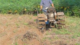 Vieil homme utilisant un petit tracteur pour labourer la ferme pour ajuster le sol à la plantation banque de vidéos