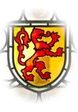 Vieil hublot avec l'emblème de lion Image libre de droits