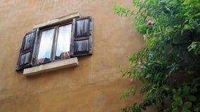 Vieil hublot Hublot d'une vieille maison en bois photographie stock libre de droits