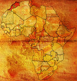 Vieil indicateur de carte du Maroc Photographie stock