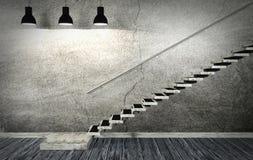 Vieil intérieur sombre de pièce et d'escalier dans le style minimal Photo stock