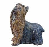 Vieil ornement de jardin de chien de Yorkshire Terrier Photos stock